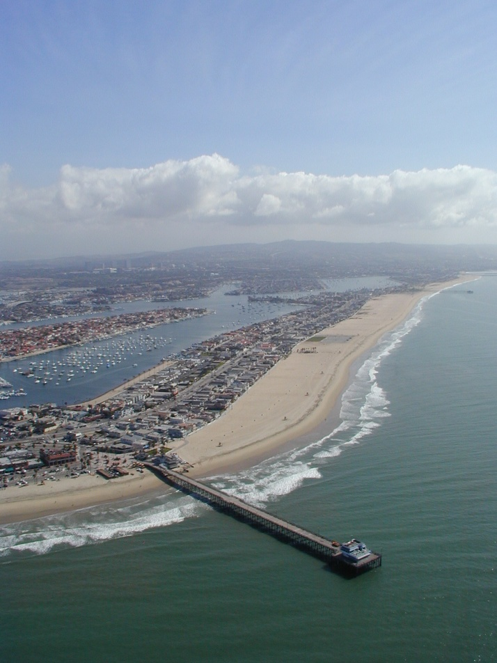 Aerial of Newport Pier and Peninsula