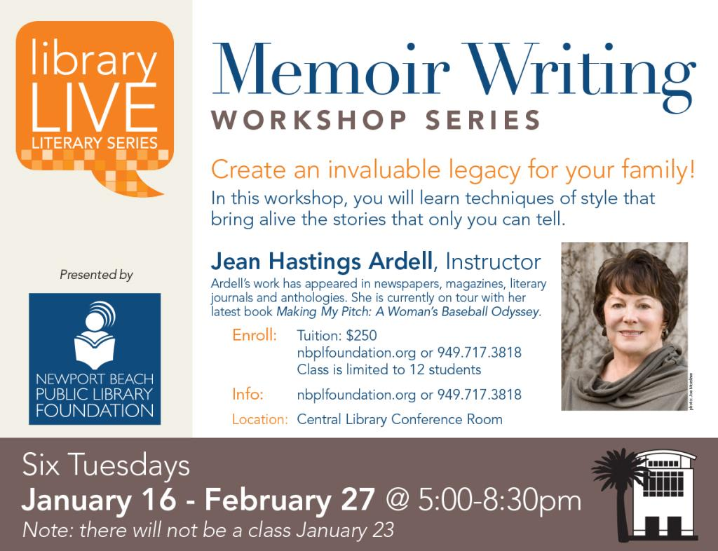 Memoir Workshop Class Information with Instructor Jean Ardell's picture