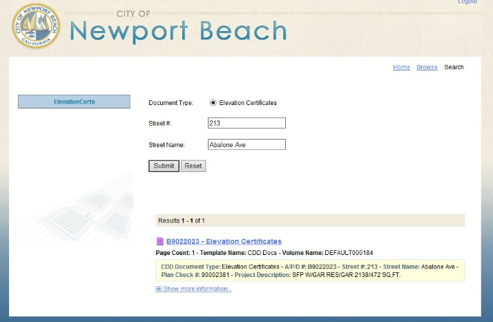 City Of Newport Beach Permit Search By Address