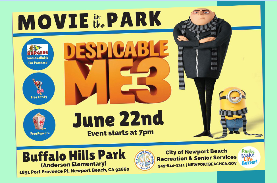 Movie in the Park, Despicable Me 3, June 22nd